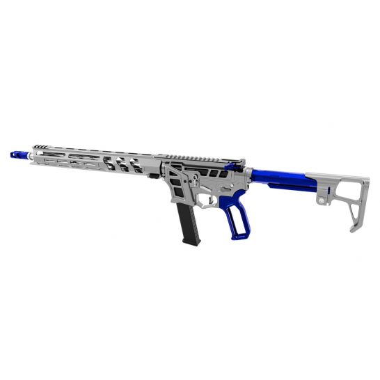 """LEAD STAR ARMS PRIME 16"""" STAINLESS STEEL PCC 9MM AR-9 RIFLE, GUNMETAL W/ BLUE ACCENTS"""